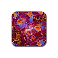 Floral Artstudio 1216 Plastic Flowers Rubber Coaster (square)