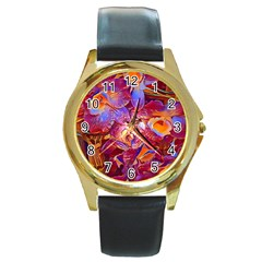Floral Artstudio 1216 Plastic Flowers Round Gold Metal Watch