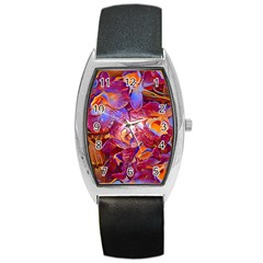 Floral Artstudio 1216 Plastic Flowers Barrel Style Metal Watch