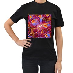 Floral Artstudio 1216 Plastic Flowers Women s T Shirt (black) (two Sided)