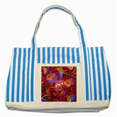 Floral Artstudio 1216 Plastic Flowers Striped Blue Tote Bag