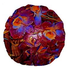 Floral Artstudio 1216 Plastic Flowers Large 18  Premium Flano Round Cushions