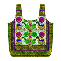 Smile And The Whole World Smiles With You Full Print Recycle Bags (l)