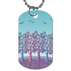 Blue magical landscape Dog Tag (Two Sides)