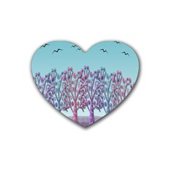 Blue magical landscape Rubber Coaster (Heart)