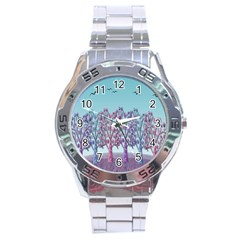 Blue Magical Landscape Stainless Steel Analogue Watch