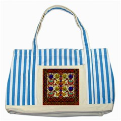 Smile And The Whole World Smiles  On Striped Blue Tote Bag