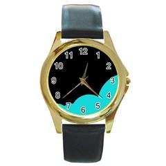 Black and cyan Round Gold Metal Watch