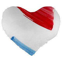 Tricolor Banner Flag, Red White Blue Large 19  Premium Flano Heart Shape Cushions