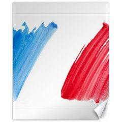 Tricolor Banner Flag France, Blue White Red Watercolor Canvas 16  X 20