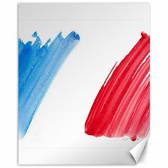 Tricolor Banner Flag France, Blue White Red Watercolor Canvas 11  X 14