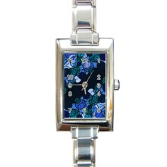 Blue bubbles Rectangle Italian Charm Watch