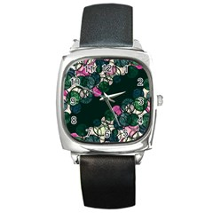 Green and pink bubbles Square Metal Watch