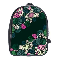 Green and pink bubbles School Bags(Large)