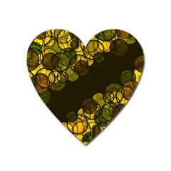 Yellow bubbles Heart Magnet