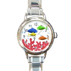 Corals and fish Round Italian Charm Watch