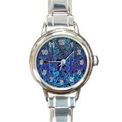 Blue coral Round Italian Charm Watch