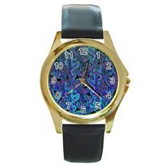 Blue coral Round Gold Metal Watch