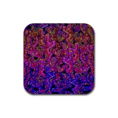 Purple Corals Rubber Square Coaster (4 Pack)