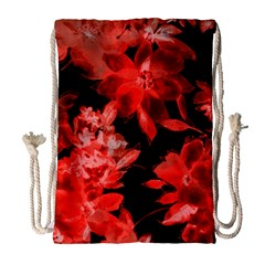 Red Flower  Drawstring Bag (large)