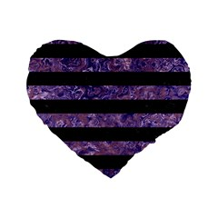 Stripes2 Black Marble & Purple Marble Standard 16  Premium Flano Heart Shape Cushion
