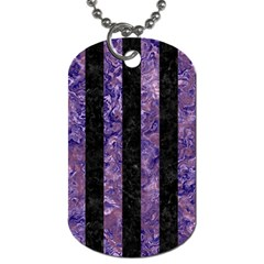 Stripes1 Black Marble & Purple Marble Dog Tag (two Sides)