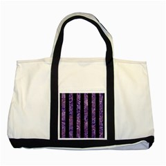 Stripes1 Black Marble & Purple Marble Two Tone Tote Bag