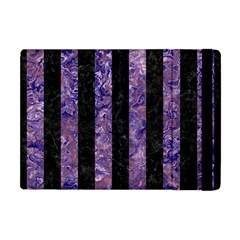 Stripes1 Black Marble & Purple Marble Apple Ipad Mini Flip Case