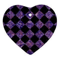 Square2 Black Marble & Purple Marble Heart Ornament (two Sides)