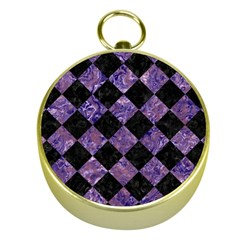 Square2 Black Marble & Purple Marble Gold Compass