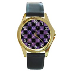 Square1 Black Marble & Purple Marble Round Gold Metal Watch