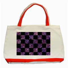 Square1 Black Marble & Purple Marble Classic Tote Bag (red)