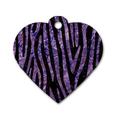 Skin4 Black Marble & Purple Marble (r) Dog Tag Heart (one Side)
