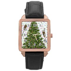 New Year S Eve New Year S Day Rose Gold Leather Watch