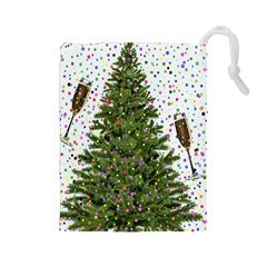 New Year S Eve New Year S Day Drawstring Pouches (Large)