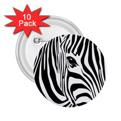 Animal Cute Pattern Art Zebra 2 25  Buttons (10 Pack)