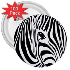 Animal Cute Pattern Art Zebra 3  Buttons (100 pack)
