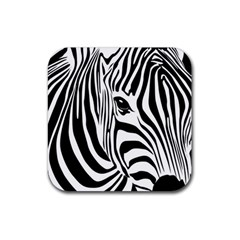 Animal Cute Pattern Art Zebra Rubber Square Coaster (4 Pack)