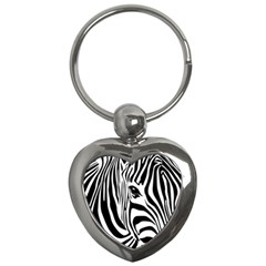 Animal Cute Pattern Art Zebra Key Chains (Heart)