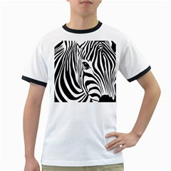 Animal Cute Pattern Art Zebra Ringer T Shirts