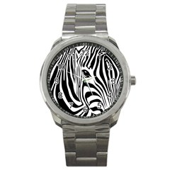 Animal Cute Pattern Art Zebra Sport Metal Watch