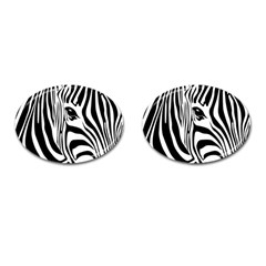 Animal Cute Pattern Art Zebra Cufflinks (oval)