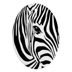 Animal Cute Pattern Art Zebra Oval Ornament (two Sides)