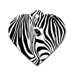 Animal Cute Pattern Art Zebra Dog Tag Heart (Two Sides)