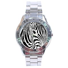 Animal Cute Pattern Art Zebra Stainless Steel Analogue Watch