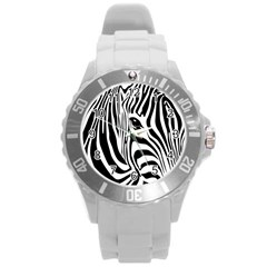 Animal Cute Pattern Art Zebra Round Plastic Sport Watch (l)
