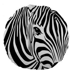 Animal Cute Pattern Art Zebra Large 18  Premium Flano Round Cushions