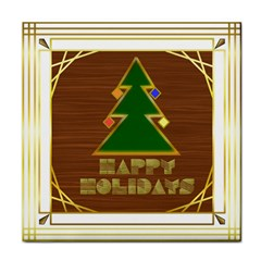 Art Deco Holiday Card Tile Coasters