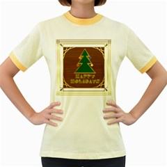 Art Deco Holiday Card Women s Fitted Ringer T Shirts