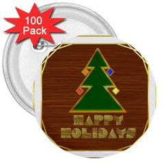 Art Deco Holiday Card 3  Buttons (100 pack)
